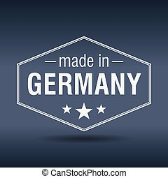 made in Germany hexagonal white vintage label