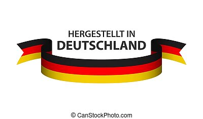 Made in Germany, In German - Hergestellt in Deutschland, colored ribbon with the German tricolor isolated on white background