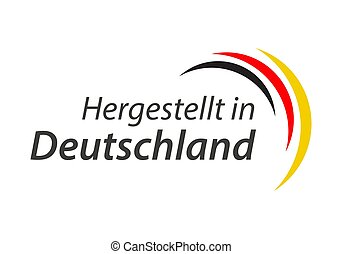 Made in Germany, In German - Hergestellt in Deutschland, simple vector symbol with the German tricolor isolated on white background