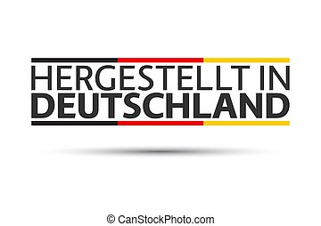 Made in Germany in German, simple vector symbol with the German tricolor isolated on white background