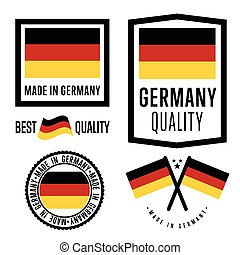 Made in Germany label set. Vector national flag