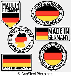 Made in Germany label set with flag, vector illustration