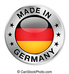 Made in Germany silver badge and icon with central glossy German flag symbol and stars. Vector EPS10 illustration isolated on white background.
