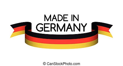 Made in Germany symbol, colored ribbon with the German tricolor