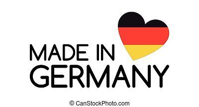 Made in Germany symbol with heart in the colors of the German tricolor