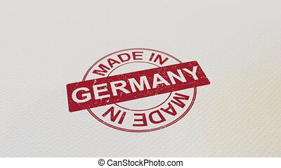 MADE IN GERMANY wooden stamp conceptual animation. Alpha...