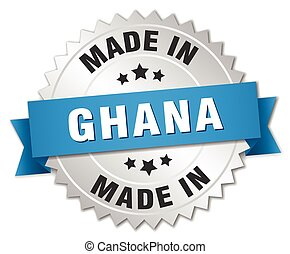 made in Ghana silver badge with blue ribbon