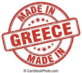 made in Greece red grunge round stamp