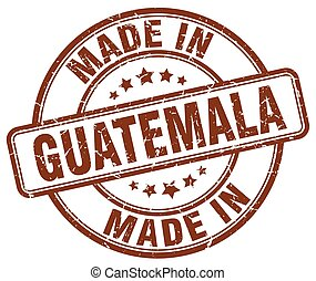 made in Guatemala brown grunge round stamp
