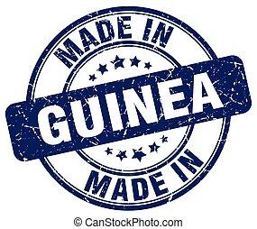 made in Guinea blue grunge round stamp