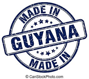 made in Guyana blue grunge round stamp