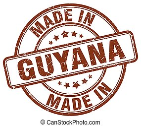made in Guyana brown grunge round stamp