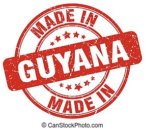 made in Guyana red grunge round stamp