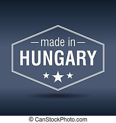 made in Hungary hexagonal white vintage label