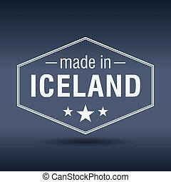 made in Iceland hexagonal white vintage label