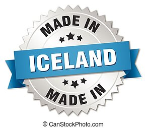 made in Iceland silver badge with blue ribbon