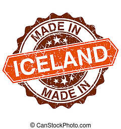 made in Iceland vintage stamp isolated on white background
