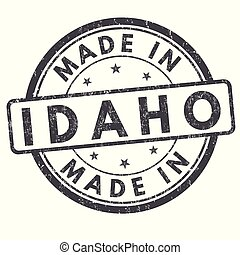 Made in Idaho sign or stamp on white background, vector illustration