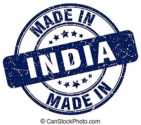 made in India blue grunge round stamp