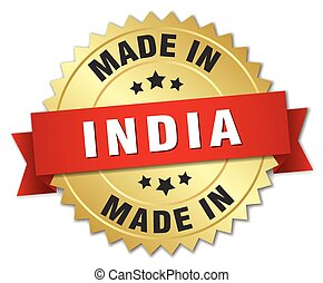 made in India gold badge with red ribbon