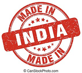 made in India red grunge round stamp