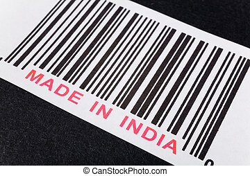 Made in India and barcode, business concept