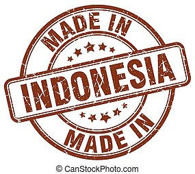 made in Indonesia brown grunge round stamp