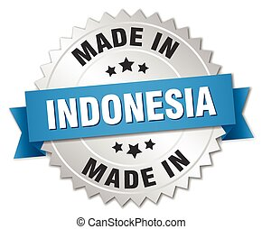 made in Indonesia silver badge with blue ribbon