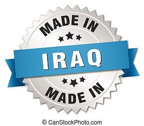 made in Iraq silver badge with blue ribbon