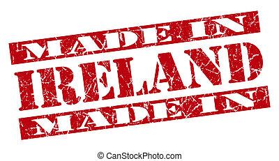 made in Ireland grunge red stamp