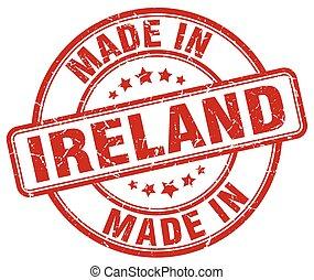 made in Ireland red grunge round stamp
