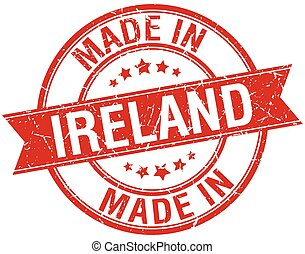 made in Ireland red round vintage stamp