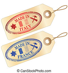 Made in Italy and  France tags