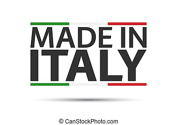 Made in Italy, colored symbol with Italian tricolor isolated on a white background