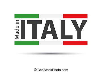 Made in Italy, colored symbol with Italian tricolor isolated on white background
