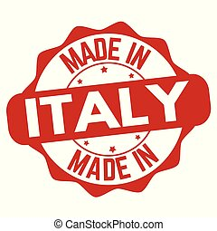 Made in Italy sign or stamp on white background, vector...