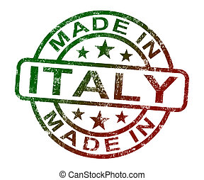 Made In Italy Stamp Shows Italian  Product Or Produce