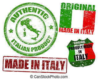 Made in Italy stamps - Set of grunge rubber stamp with the...