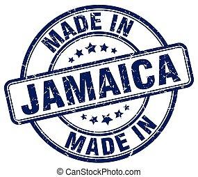 made in Jamaica blue grunge round stamp