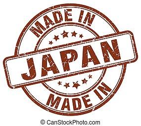 made in Japan brown grunge round stamp