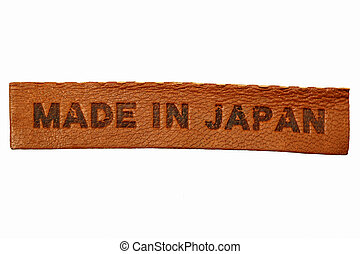 """Made in Japan - Brown leather label """"MADE IN JAPAN"""" isolated..."""