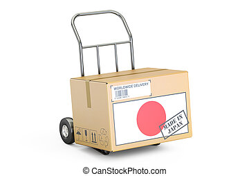 Made in Japan concept. Cardboard Box on Hand Truck, 3D ...