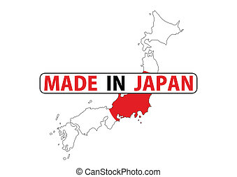 made in japan country national flag map shape with text