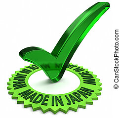 Made in Japan - Green label with 3D text and check mark. ...