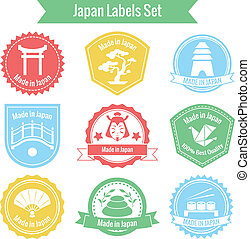 Made in Japan labels set - Made in Japan labels or badges ...