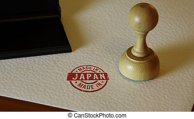 Made in Japan stamp and stamping hand. Factory, ...