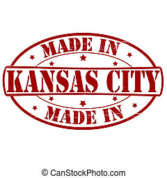 Stamp with text made in Kansas City inside, vector illustration