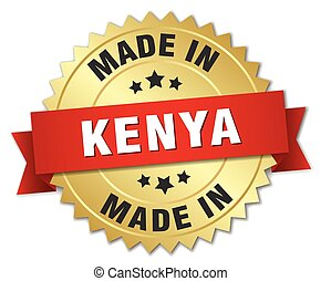 made in Kenya gold badge with red ribbon