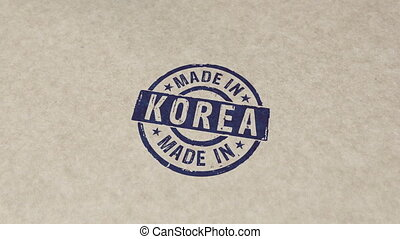 Made in Korea stamp and stamping animation