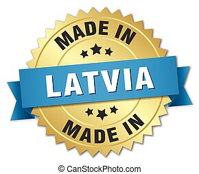 made in Latvia gold badge with blue ribbon